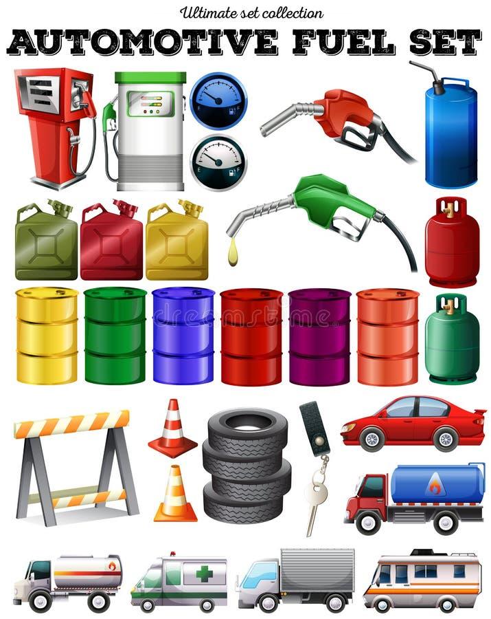 Unterschiedlicher Transport und Treibstoff stock abbildung