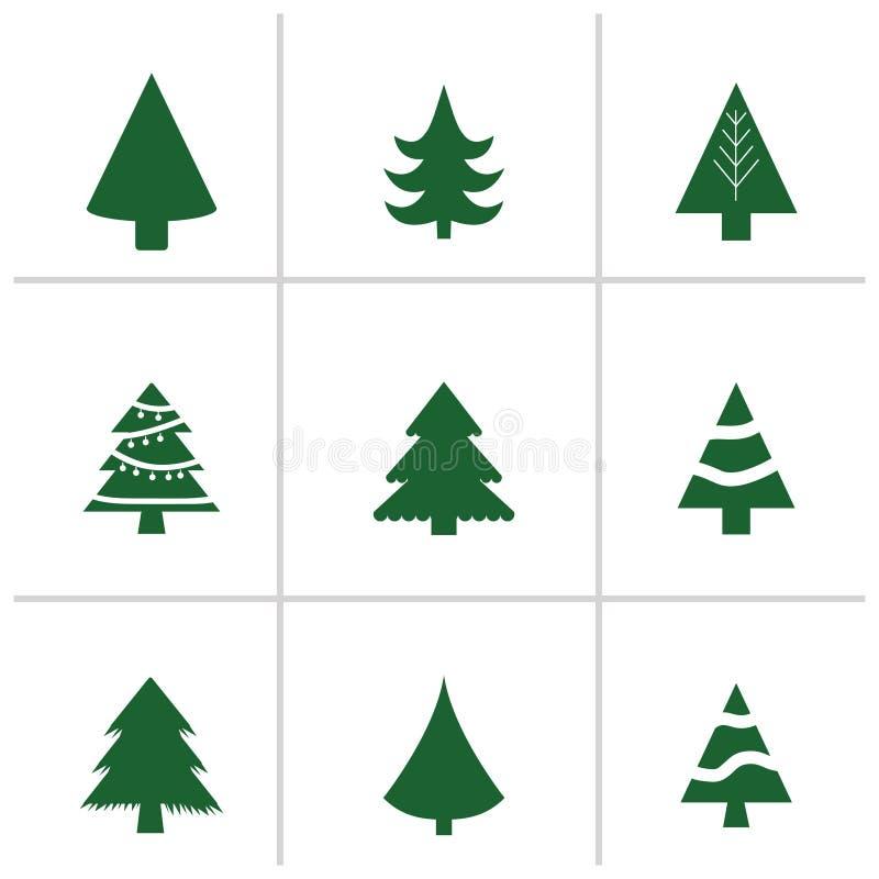 Unterschiedlicher Weihnachtsbaumsatz, Vektorillustration Kann für Grußkarte, Einladung, Fahne, Webdesign verwendet werden stock abbildung