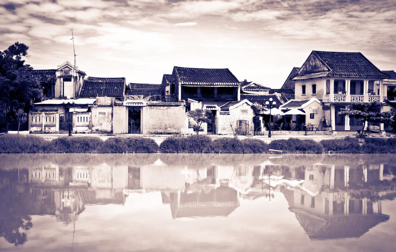 Unterschiedlicher Weinleseblick von Hoi, Vietnam, UNESCO lizenzfreie stockfotos
