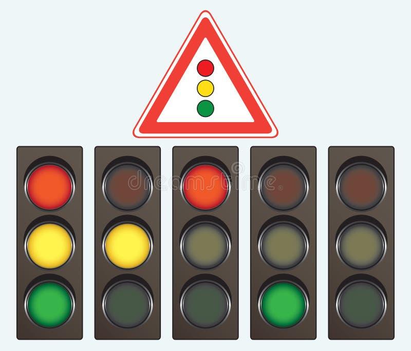 Unterschiedliches Ampel- und Verkehrsschild lizenzfreie abbildung
