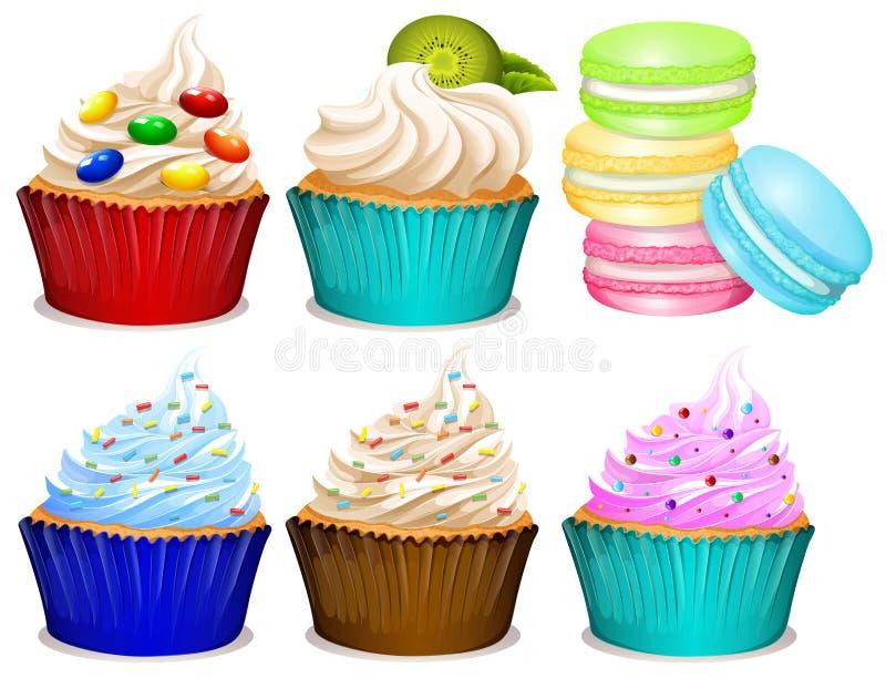 Unterschiedliches Aroma von kleinen Kuchen lizenzfreie abbildung