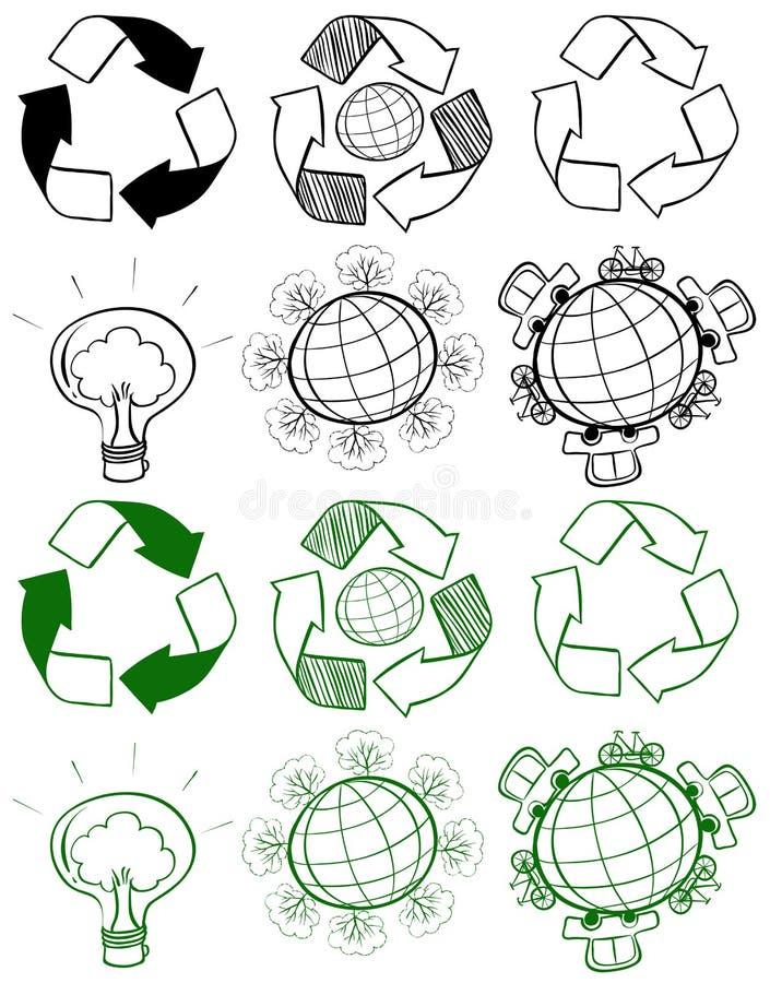 Unterschiedliches Design von Recycling-Symbolen stock abbildung