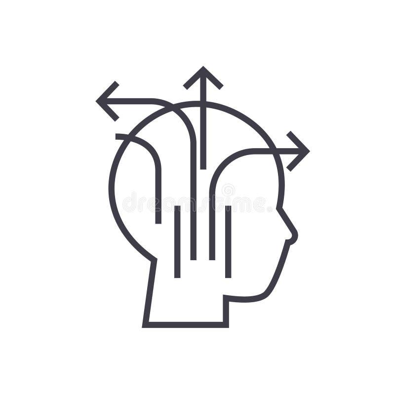 Unterschiedliches Geschäft, das lineare Ikone, Zeichen, Symbol, Vektor auf lokalisiertem Hintergrund denkt lizenzfreie abbildung