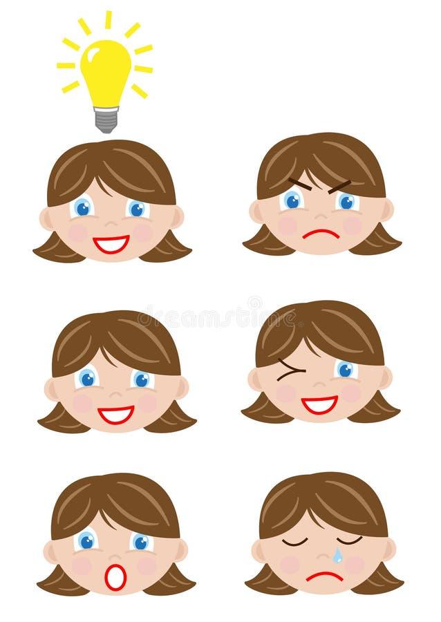 Unterschiedliches Gesichtsmädchen stock abbildung