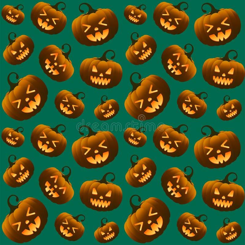 Unterschiedliches Halloween-Kürbis-Grün-nahtloses Muster lizenzfreies stockbild