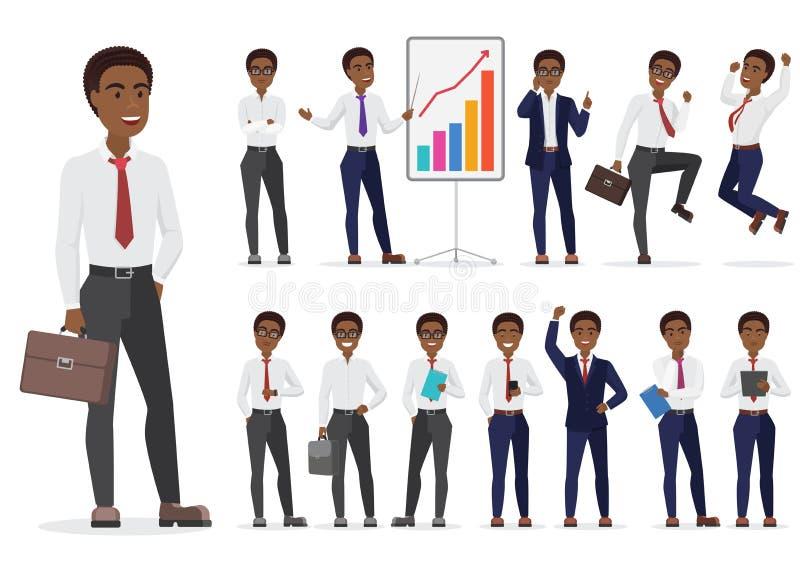 Unterschiedliches Haltungsdesign des Afroamerikaner-Geschäftsmanncharakters Vektorkarikatur-Mannillustration stock abbildung