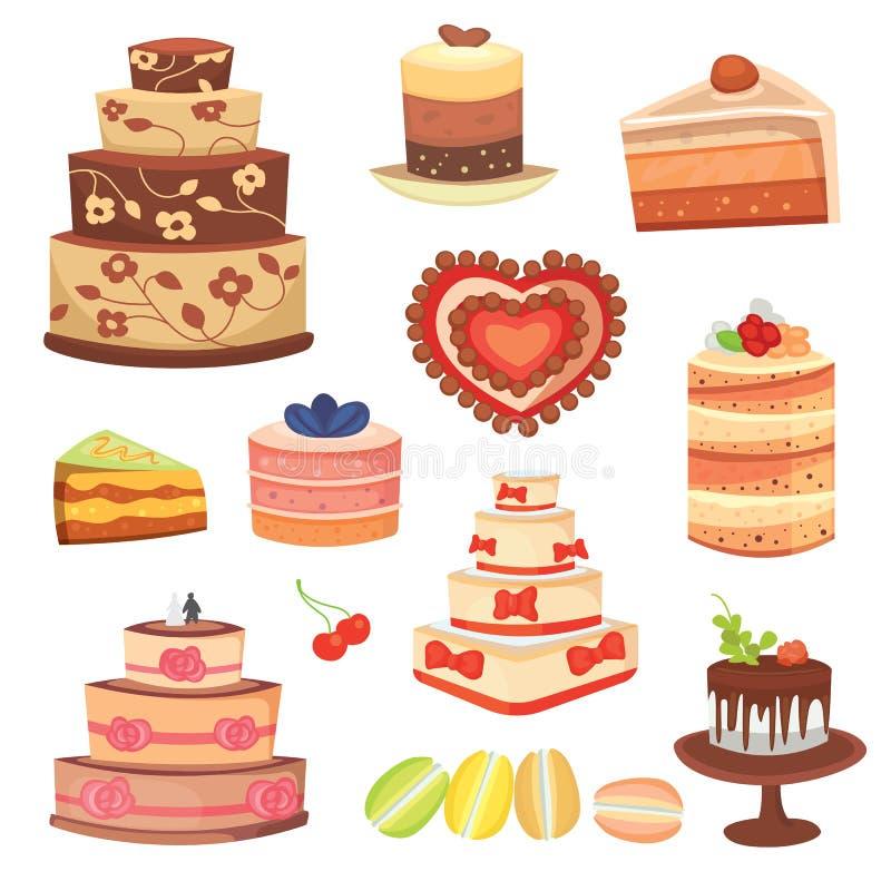 Unterschiedliches Hochzeitscreme-Geburtstagskuchen-Tortenvektorillustrations-Feierlebensmittel vektor abbildung
