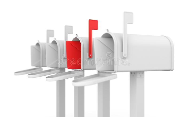 Unterschiedliches Konzept. Mailbox mit Umschlag. lizenzfreie abbildung