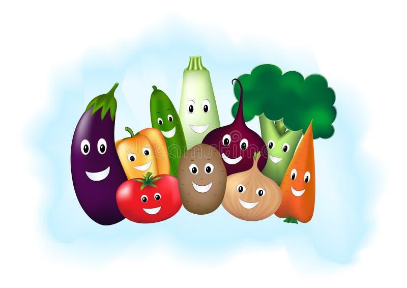 Unterschiedliches lächelndes Gemüse auf hellblauem Hintergrund, horizontale Vektorillustration stock abbildung