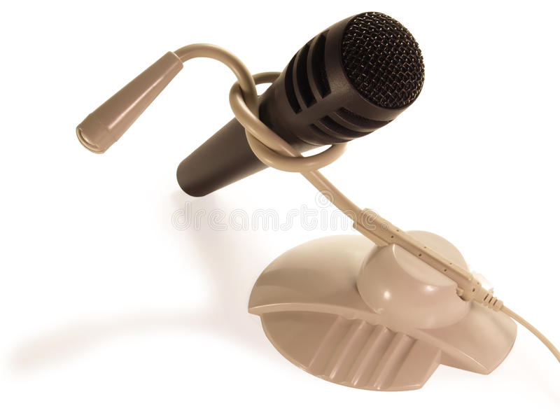 Unterschiedliches Mikrofon zwei angeschlossen an den Knotenpunkt. lizenzfreie stockbilder