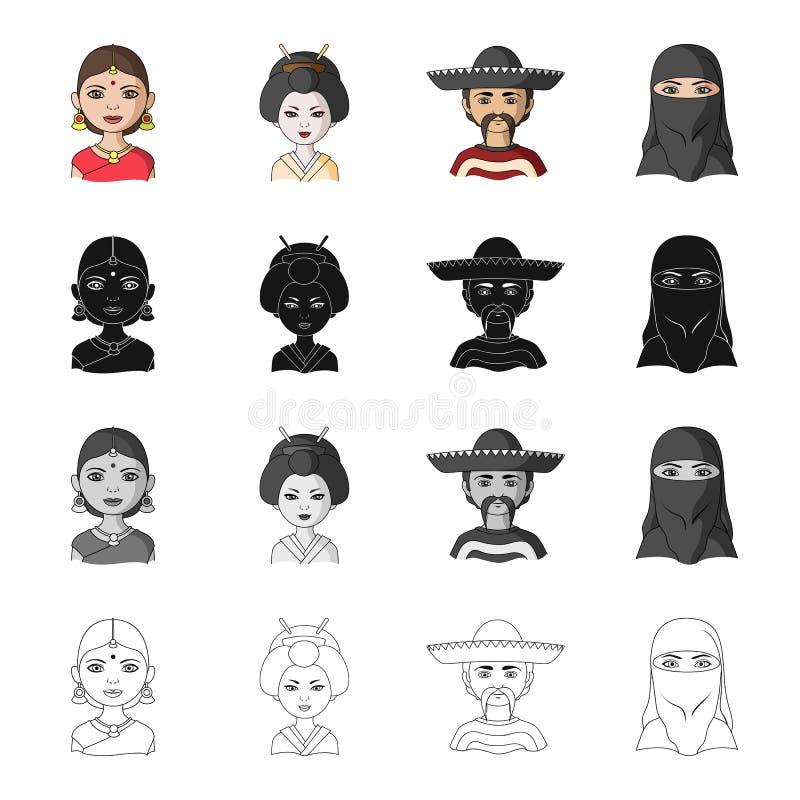 Unterschiedliches Rennen von indischem, japanisch, mexikanisch, asiatisch Die gesetzten Sammlungsikonen der menschlichen Rasse im stock abbildung