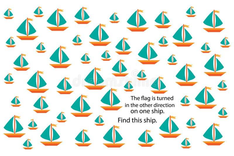 Unterschiedliches Schiff der Entdeckung, Spaßausbildungsrätselspiel mit Transport für Kinder, Vorschularbeitsblatttätigkeit für K stock abbildung