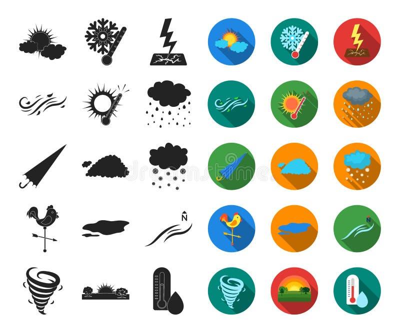 Unterschiedliches Wetterschwarzes, flache Ikonen in gesetzter Sammlung für Entwurf Zeichen und Eigenschaften des Wetters vector S lizenzfreie abbildung