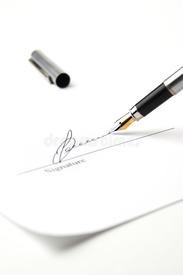 Unterschrift stockfotografie