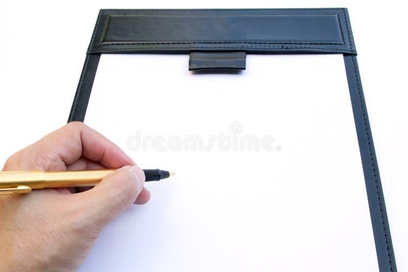 Unterschrift auf Zeichenauflage lizenzfreies stockfoto