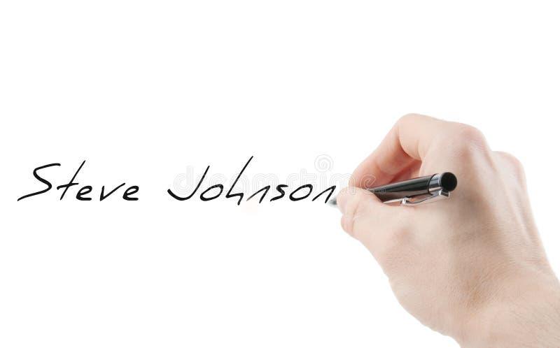 Unterschrift mit einer Hand lokalisiert auf Weiß stockbild