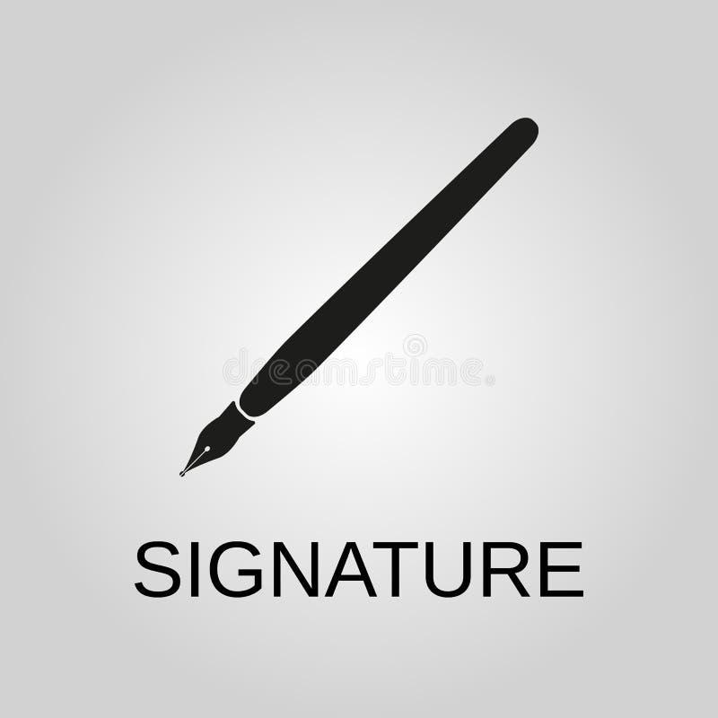 Unterschriftenikone Unterschriftensymbol Flaches Design Vorrat - Vektorillustration stock abbildung
