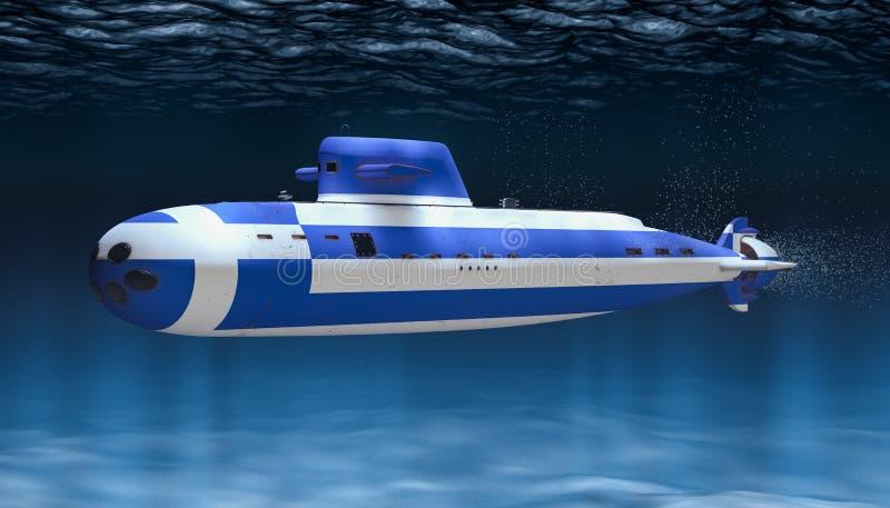 Unterseeboot der griechischen Marine, Konzept Wiedergabe 3d lizenzfreie abbildung