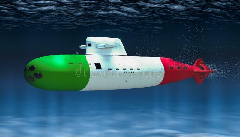 Unterseeboot der italienischen Marine, Konzept Wiedergabe 3d vektor abbildung