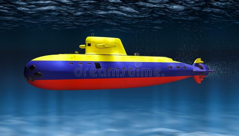 Unterseeboot der kolumbianischen Marine, Konzept Wiedergabe 3d stock abbildung
