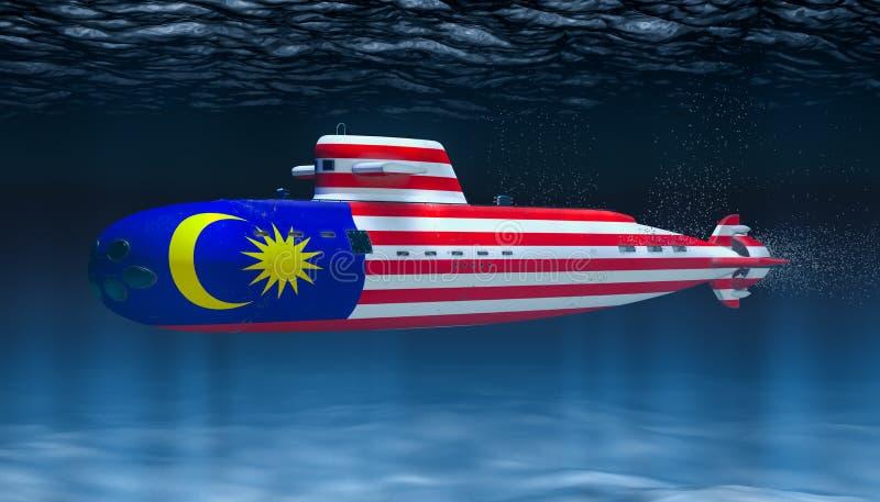 Unterseeboot der malaysischen Marine, Konzept Wiedergabe 3d vektor abbildung