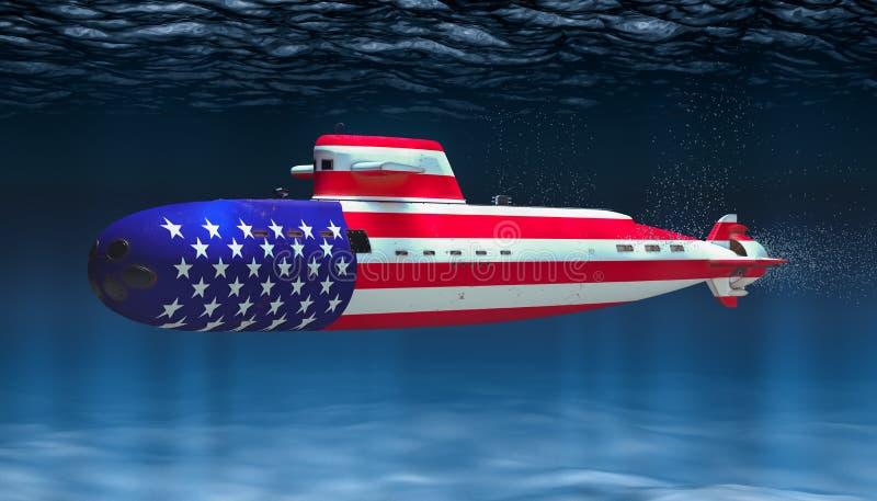 Unterseeboot der Marine Vereinigter Staaten, Konzept Wiedergabe 3d vektor abbildung
