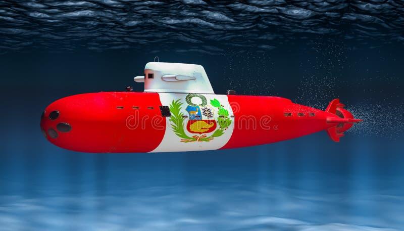 Unterseeboot der peruanischen Marine, Konzept Wiedergabe 3d vektor abbildung