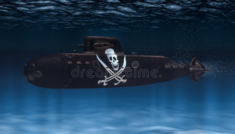 Unterseeboot mit Piraterieflagge, Wiedergabe 3D lizenzfreie abbildung