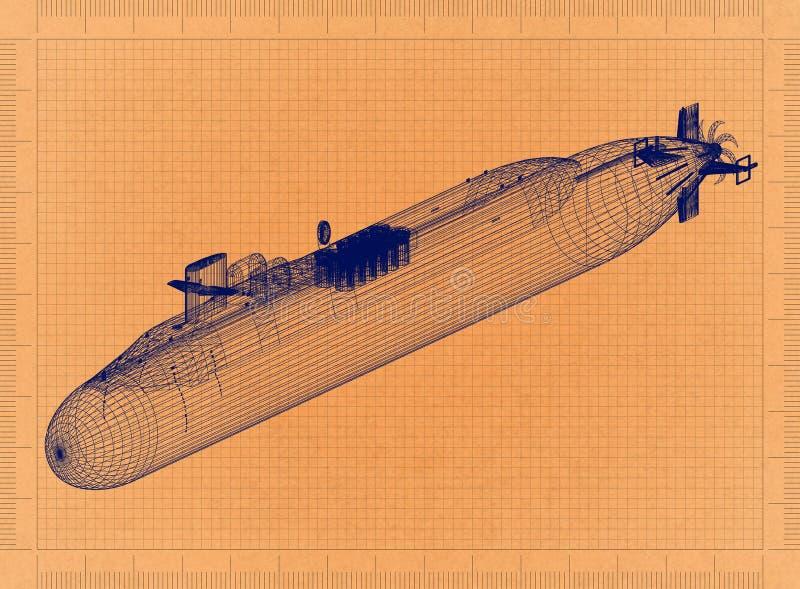Unterseeboot - Retro- Plan stock abbildung
