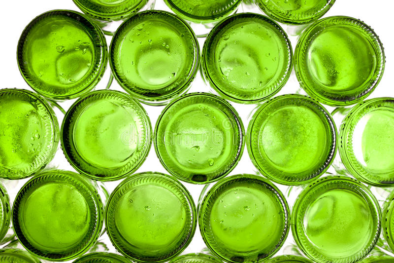 Unterseiten der leeren Glasflaschen stockfotografie