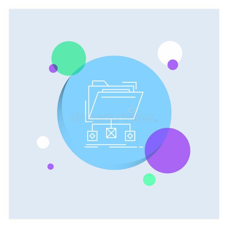 Unterstützung, Daten, Dateien, Ordner, Netz weiße Linie Ikonen-bunter Kreis-Hintergrund lizenzfreie abbildung