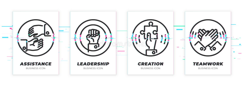 Unterstützung, Führung, Schaffung, Teamwork Geschäftsthema glitched die schwarzen eingestellten Ikonen vektor abbildung