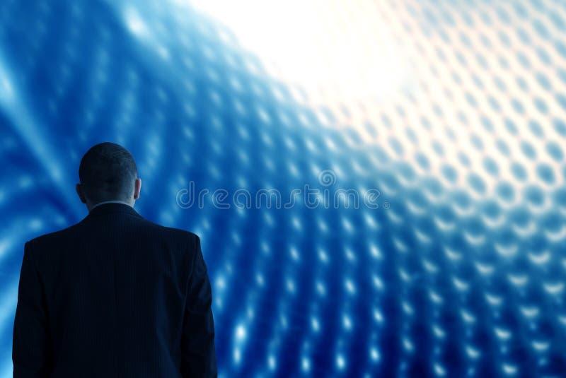 Untersuchen Sie zukünftiges Technologiehintergrundblau stockfoto
