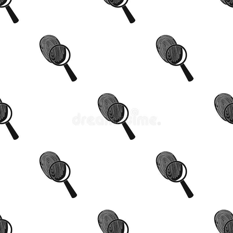 Untersuchung durch Fingerabdruckvergrößerungsglas, Verbrechen Lupe ist ein Detektivwerkzeug, einzelne Ikone schwarzes Artvektorsy vektor abbildung