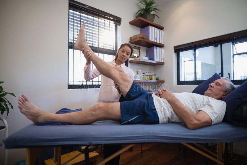 Untersuchungsbein des jungen weiblichen Therapeuten des älteren männlichen Patienten, der auf Bett liegt stockfotografie