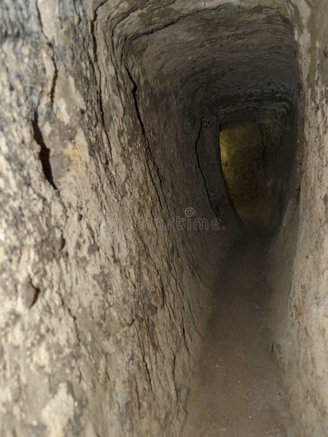 Untertagestadt Derinkuyu ist eine alte mehrstufige H?hlenstadt in Cappadocia, die T?rkei stockfotografie