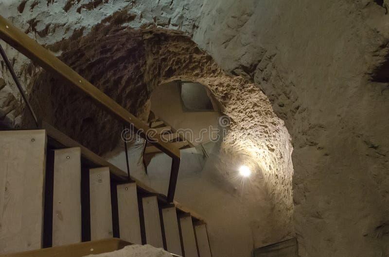 Untertagestadt Derinkuyu ist eine alte mehrstufige H?hlenstadt in Cappadocia, die T?rkei stockfoto
