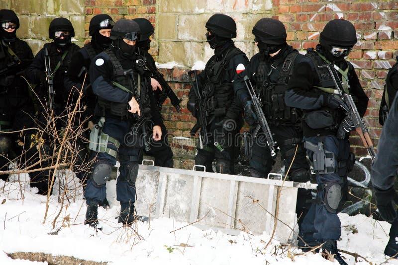 Unterteilunganti-terroristpolizei. stockfotografie