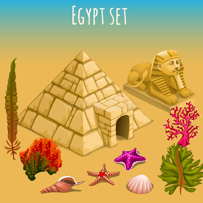 Unterwasser-Ägypten-Welt und -pyramide stock abbildung