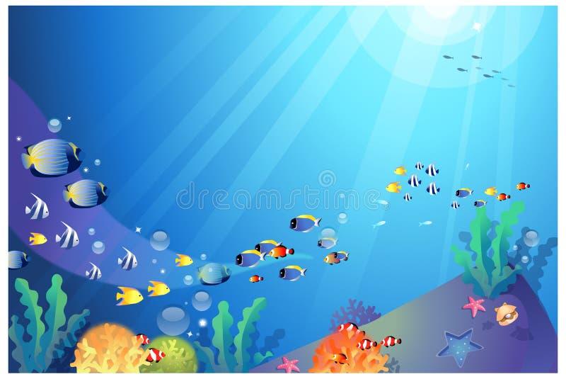 Unterwasser-sealife vektor abbildung