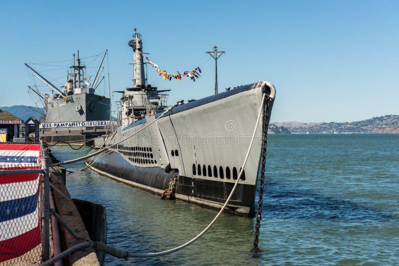 Unterwasser-USS Pampanito nahe Pier 39 in San Francisco, Kalifornien, USA lizenzfreie stockfotos