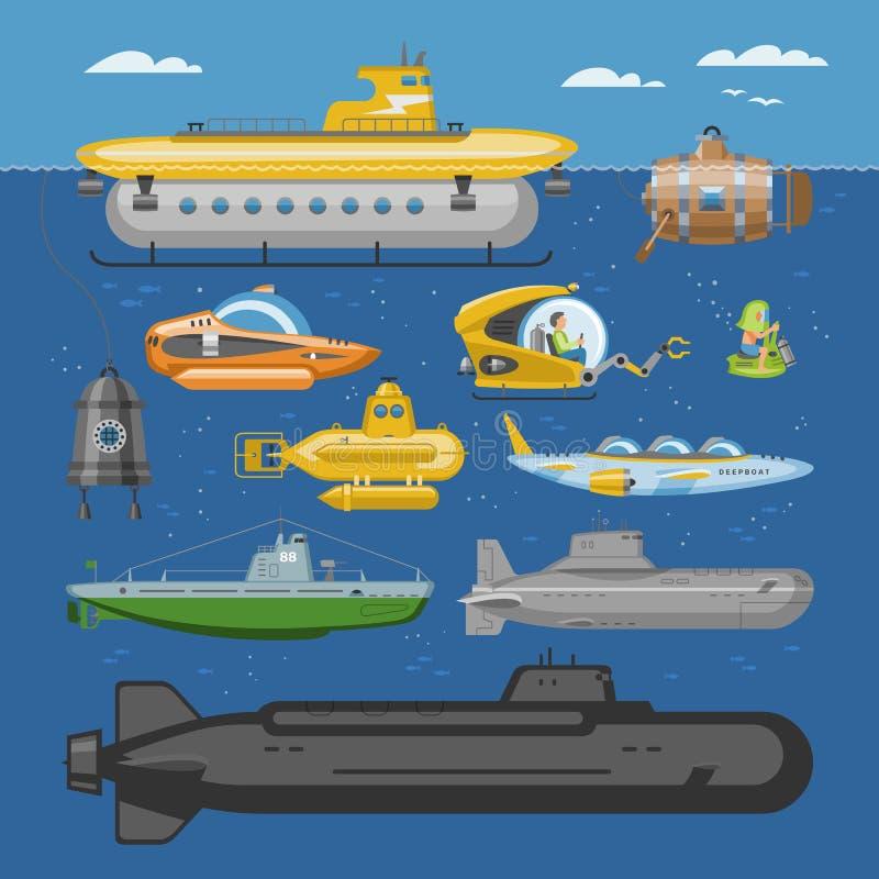 Unterwasser- Vektormeer-pigboat oder Marinesegelboot Unterwasser und Schiffstransport im Illustrationsseesatz des tiefen Ozeans v lizenzfreie abbildung