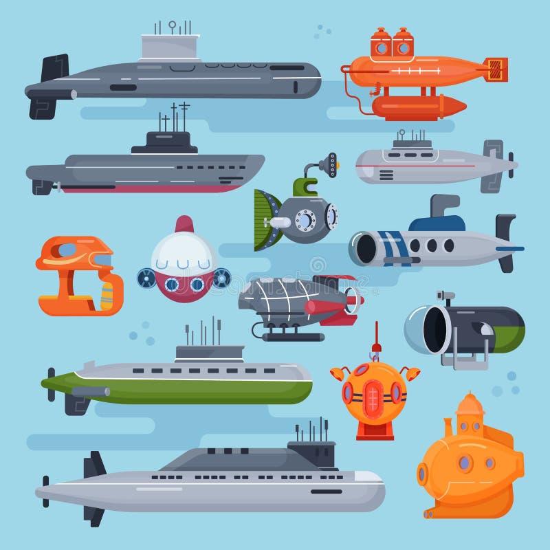 Unterwasser- Vektormeer-pigboat oder Marinesegelboot Unterwasser und Schiffstransport im Illustrationsseesatz des tiefen Ozeans v vektor abbildung