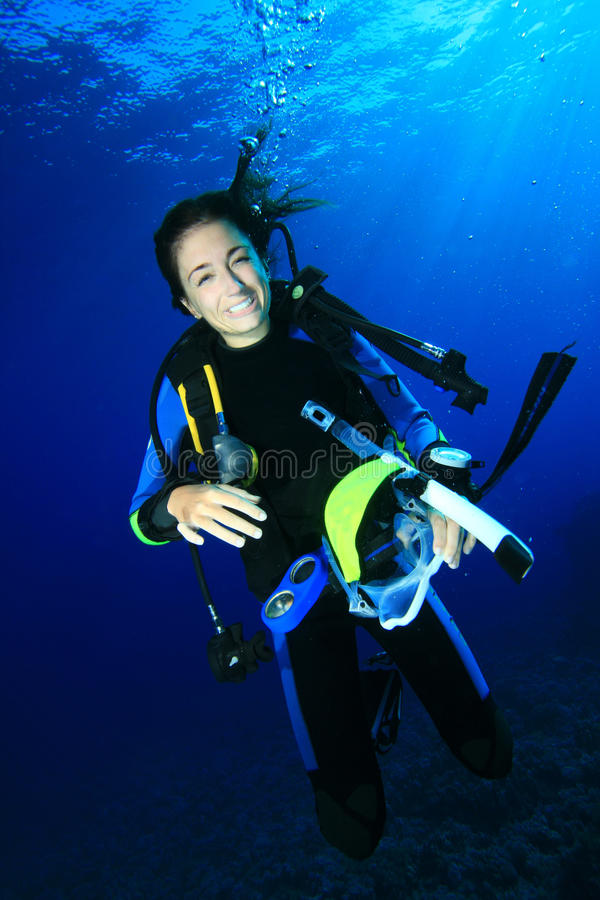 Unterwasseratemgerät-Taucher stockbilder