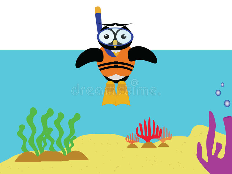 Unterwasseratemgeräteule lizenzfreies stockfoto