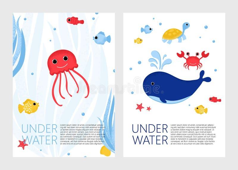 Unterwasserfahne mit Fischen, Krabbe und Korallen vektor abbildung