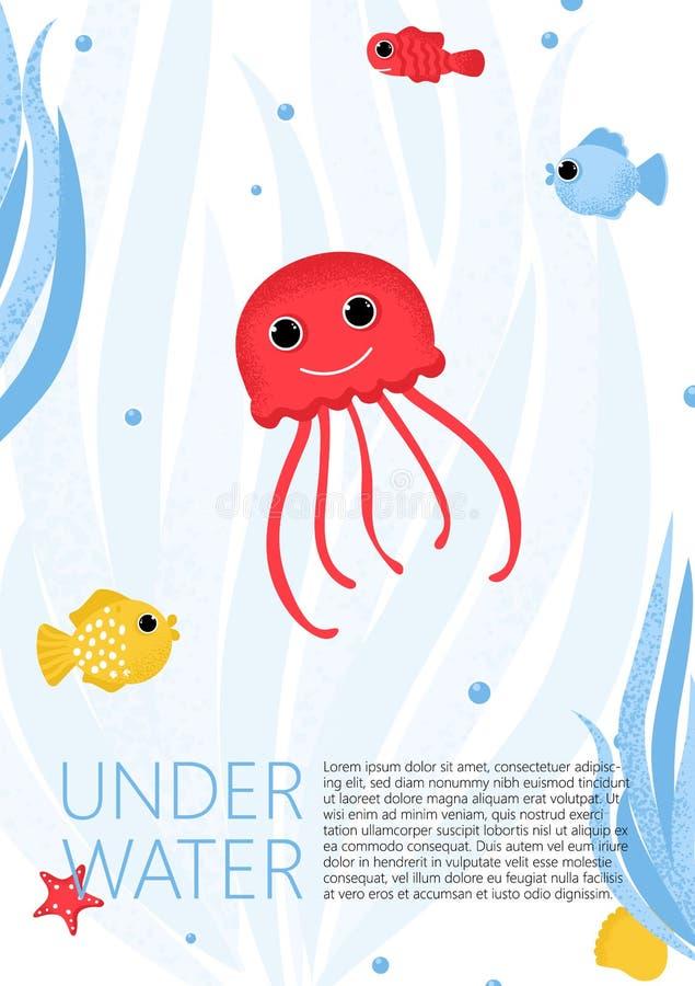 Unterwasserfahne mit Fischen, Quallen und Waren stock abbildung