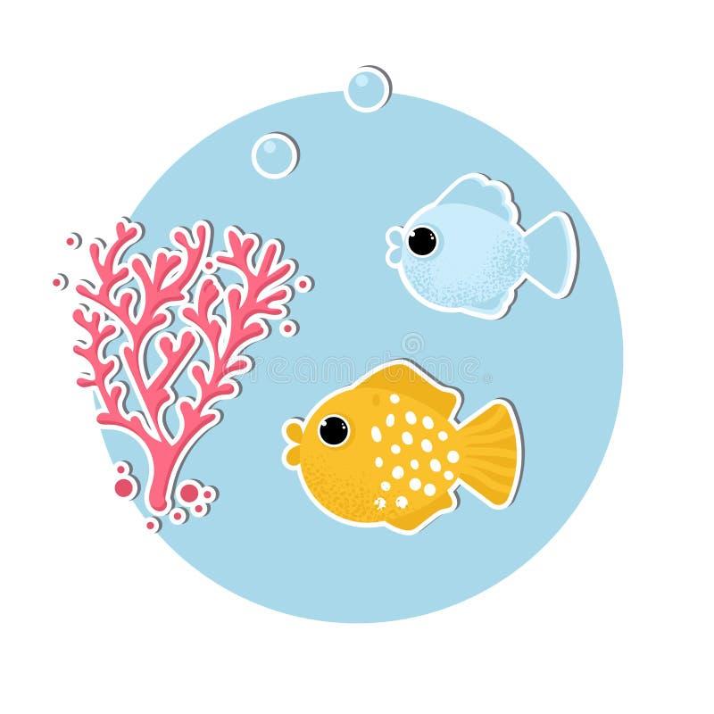 Unterwasserfahne mit Fischen und Korallen vektor abbildung