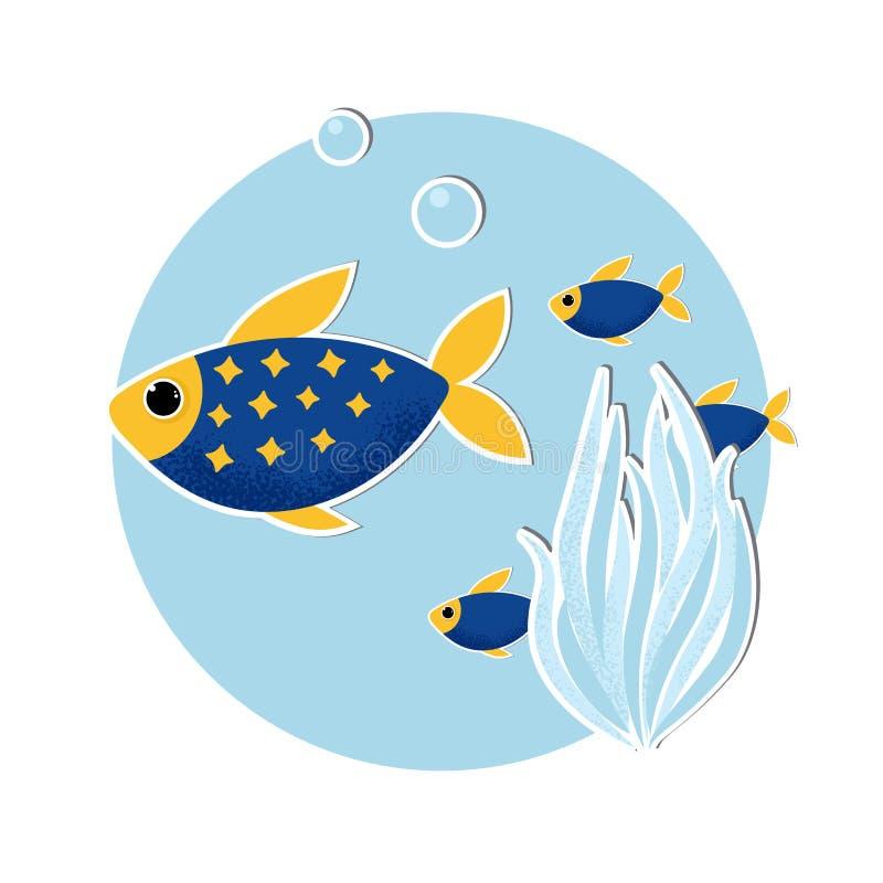 Unterwasserfahne mit Fischen und Korallen lizenzfreie abbildung