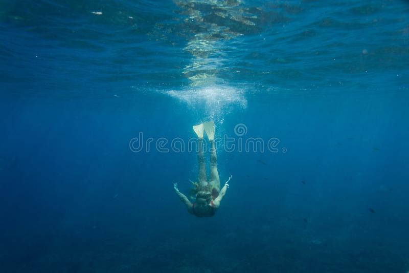 Unterwasserfoto der jungen Frau in der Schwimmenklage und der Flipper, die im Ozean allein tauchen lizenzfreie stockbilder